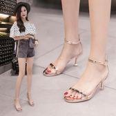 銀色一字帶透明性感高跟涼鞋細跟中跟仙女夏2018新款百搭貓跟 5cm 【PINK Q】