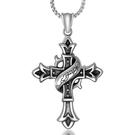 《QBOX 》FASHION 飾品【CSP508】精緻個性歐美托雷多十字架鑄造鈦鋼墬子項鍊/掛飾