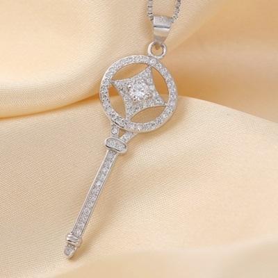 925純銀項鍊  鑲鑽墜飾-鑰匙百搭生日情人節禮物女配件73am161【巴黎精品】