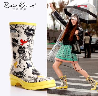 韓版手繪時尚中筒女式雨鞋 女士雨靴復古風雨鞋色1色100l7【Brag Na義式精品】