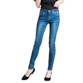 顯瘦--極緻超顯瘦星星刺繡刷白側邊接片窄管牛仔褲(藍XL-7L)-N91眼圈熊中大尺碼
