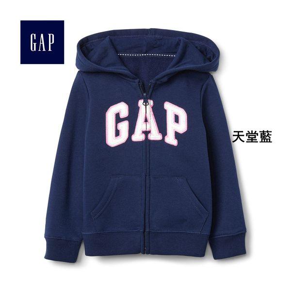 Gap女嬰幼童 LOGO刷毛連帽休閒外套 兒童長袖童裝 259444-天堂藍