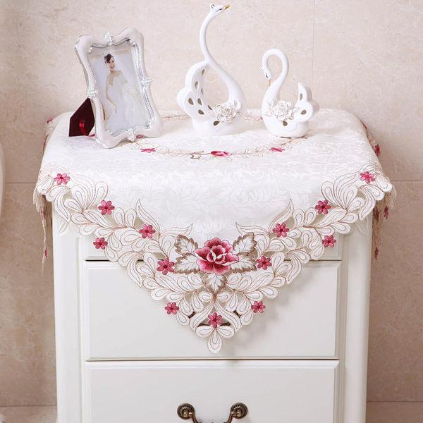 雙11特惠-歐式田園布藝床頭櫃繡花防塵蓋布罩圓形五斗櫃蕾絲洗衣蓋巾桌布