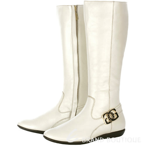 [ NG品 大放送 ] GUESS 米白色金屬LOGO飾平底長靴 0790012-20 38號