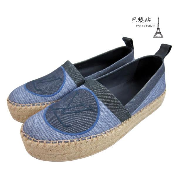 【巴黎站二手名牌專賣店】*現貨*Louis Vuitton LV 真品*單寧帆布LOGO草編鞋 (37.5號)