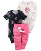 3件組長短袖包屁衣+長褲套裝: 可愛小鳥: 126H030