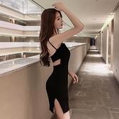 露背洋裝  小黑裙性感個性露背修身顯瘦百搭吊帶連身裙女-Ballet朵朵