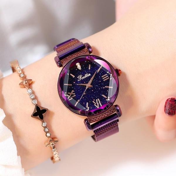 手錶女星空網紅同款滿天星韓版學生防水新品 韓版時尚潮流女士 聖誕裝飾8折