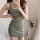 夜店女裝韓國夏季修身打底針織吊帶低胸洋裝緊身包臀顯瘦性感短裙夜店女