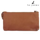 le-junev / L707-Dark Tan 拉鍊設計小羊皮手拿包-深棕色