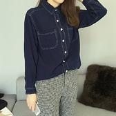 單寧襯衫-時尚簡約寬鬆顯瘦休閒長袖女牛仔上衣71ae99【巴黎精品】