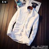 亞麻長袖襯衫男夏季韓版修身潮流帥氣休閒亞麻長袖襯衣白色tb寸衫上衣 曼莎時尚
