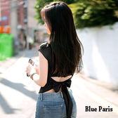 藍色巴黎 ★ 性感修身露腰後綁蝴蝶結短袖上衣 T恤《4色》【28396】