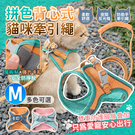 貓咪拼色背心式牽引繩 M 貼身透氣 防掙脫貓背帶 貓牽繩 寵物牽引繩【AF0101】《約翰家庭百貨