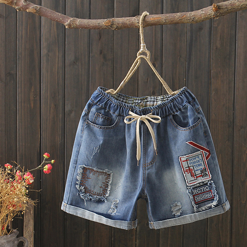 *ORead*緊腰直筒牛仔短褲 (藍色M~XL)