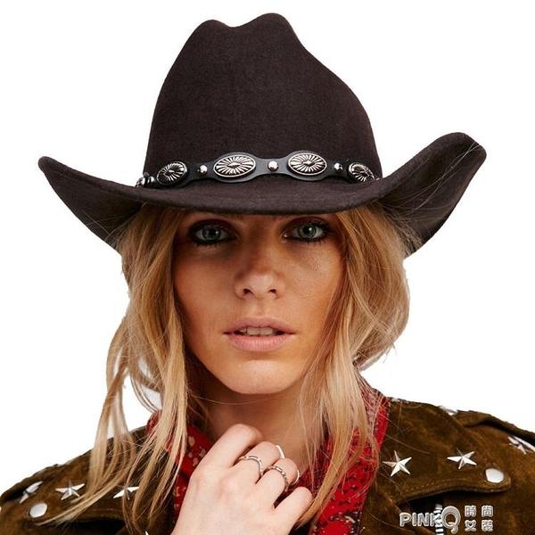 100%羊毛呢復古男女西部牛仔帽大沿寬邊朋克皮帶爵士帽-帽圍57CM (pinkq 時尚女裝)