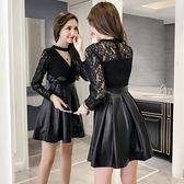 降價兩天 2020年早秋洋裝 掛脖V領蕾絲洋裝 拼接PU皮A字裙收腰顯瘦小個子連身裙女