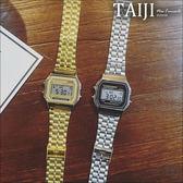 潮流手錶‧情侶款金屬方形電子潮錶‧二色【NXD079】-TAIJI-