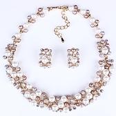 項鍊鍍18K金+耳環-高雅氣質珍珠水鑽女毛衣鍊73nt7【時尚巴黎】