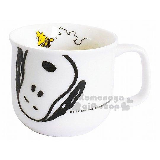 〔小禮堂〕史努比 日製陶瓷馬克杯《白.閉眼坐姿.大臉》精緻盒裝.日本金正陶器 4964412-60631