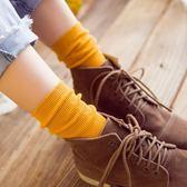 襪子女夏韓國糖果色全棉紫色ins中筒堆堆襪短靴原宿風女運動潮襪