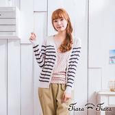 【Tiara Tiara】漢神春夏 橫條紋V領排釦罩衫外套(白底/藍底)