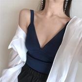 吊帶背心新款新款港味chic性感低胸V領純色背心吊帶女裝修身短版打底上衣