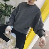 韓版簡約潮流男士休閒背后印花針織衫蝙蝠袖套頭衫