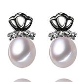珍珠耳環 925純銀-鑲鑽皇冠8-9mm水滴型生日情人節禮物女飾品73lw36【時尚巴黎】