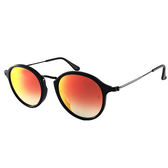 台灣原廠公司貨-【Ray-Ban雷朋】2447F-901/4W-49-亞洲版-復古圓框太陽眼鏡(黑框-水銀漸層橘鏡面)
