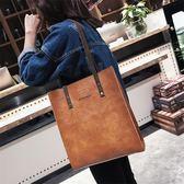 手提包 新款韓版學生托特包pu軟皮單肩包女大包復古港味chic風手提包
