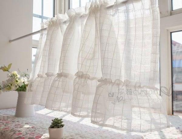 可愛時尚田園門簾416 廚房半簾 咖啡簾 窗幔簾 穿杆簾 (230*60cm) 風水簾