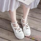 蝴蝶結洛麗塔lolita大頭娃娃鞋森女學院風平底小皮鞋【聚可愛】