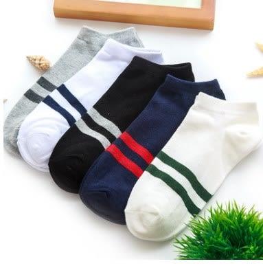 預購-男士運動條紋純棉短襪船型襪(一組5雙)