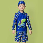 彩色 卡通 印花 五分褲 兩件套 長袖 兒童泳裝