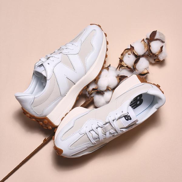 NEW BALANCE 休閒鞋 NB327 質感 奶油 白 皮革 焦糖底 女 (布魯克林) WS327LA