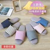 【iSlippers】療癒系舒活布質室內拖鞋-6雙組混色條紋款(6L)