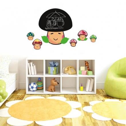 壁貼 DIY創意無痕 牆貼 貼紙【半島良品】-小蘑菇黑板