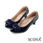SCONA 蘇格南 全真皮 典雅蝴蝶結舒適跟鞋 藍色 22806-2