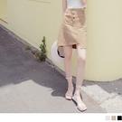《CA2359-》高含棉排釦鬆緊不對稱斜紋短裙 OB嚴選