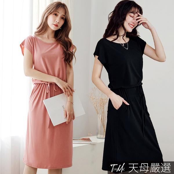 【天母嚴選】縮腰綁帶簡約連身洋裝(共二色)