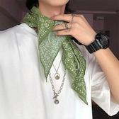 綠色絲巾小方巾女復古日系文藝圍脖街頭嘻哈棉麻頭巾圍巾男 格蘭小鋪