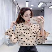 VK精品服飾 韓系復古襯衫寬松燈芯絨波點娃娃領長袖上衣