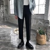 西裝褲春季韓版垂感小西褲男直筒九分褲修身男士小腳休閒褲潮黑色西裝褲 晶彩生活