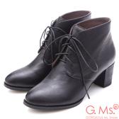 G.Ms. 牛皮優美楦頭綁帶粗跟短靴*黑色