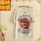 女短袖T恤純棉刺繡上衣-可愛草莓流行女裝4色68d40【巴黎精品】