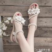 仙女風涼鞋女學生夏季新款女鞋軟妹配裙子的沙灘鞋平底羅馬鞋「安妮塔小鋪」