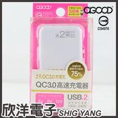 A-GOOD 2孔 QC3.0 USB高速充電器(FB-002-31)