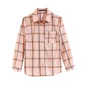 【MASTINA】大格紋襯衫-粉 0610