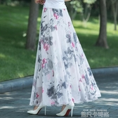 2020夏新款雪紡半身裙長款大碼裙子波西米亞碎花大擺女沙灘裙長裙 依凡卡時尚